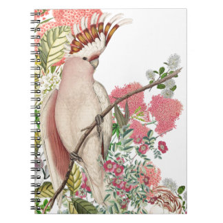 Pink cockatoo, on mantle of flowers spiral notebook