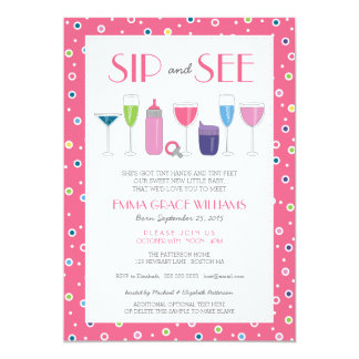 Pink Cocktail New Baby Girl Sip and See Invitation