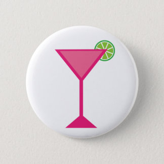 Pink Cocktail With Lime 6 Cm Round Badge
