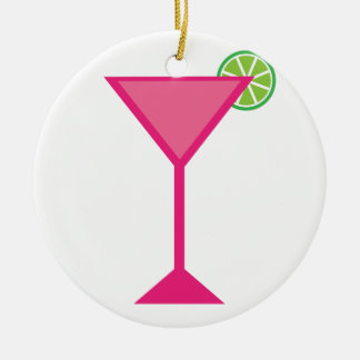 Pink Cocktail With Lime Christmas Ornament