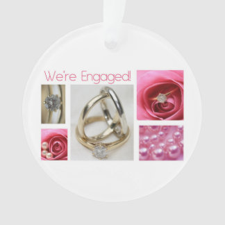 Pink collage engagement announcement ornament