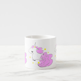 Pink color cartoon unicorns with stars baby mug espresso mug