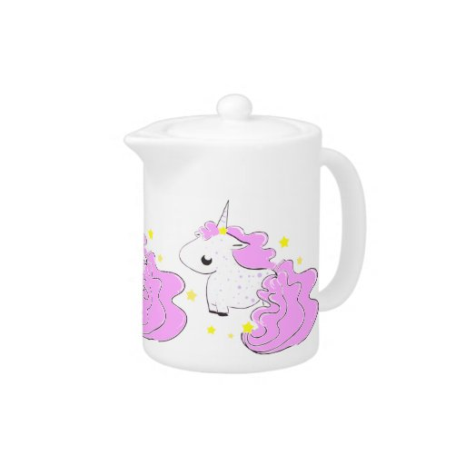Pink color cartoon unicorns with stars cute teapot