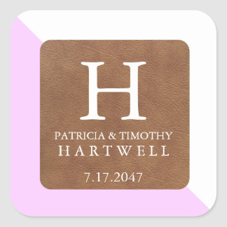 Pink Color Split Faux Leather Patch Wedding Square Sticker