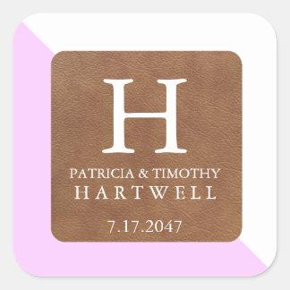 Pink Color Split Faux Leather Patch Wedding Square Sticker