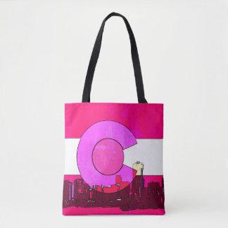 Pink Colorado Denver skyline print all over tote