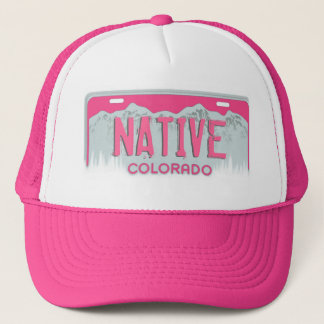 Pink Colorado Native license plate hat