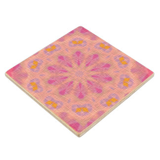 Pink colored pattern wood coaster