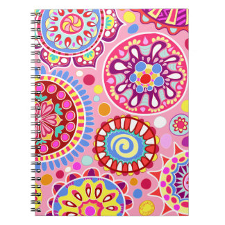 Pink Colorful Abstract Art Notebook - Psychedelic!