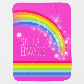 Pink colorful name rainbow stars baby blanket