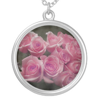 pink colorized rose bouquet Spotted background Necklaces