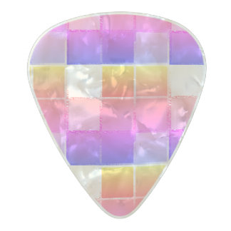 Pink Colourful Cube Geometric iPanema Cubist Pearl Celluloid Guitar Pick