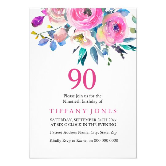 Pink Colourful Tropical Floral 90th Birthday Card
