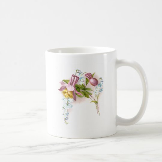 Pink Columbine Flower Victorian Trade Card Coffee Mug