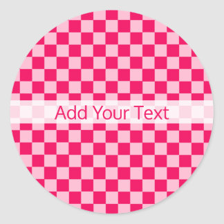 Pink Combination Classic Checkerboard by STaylor Classic Round Sticker