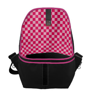 Pink Combination Diamond-Checkerboard Courier Bag