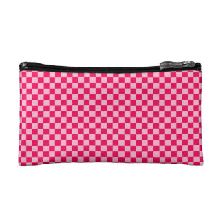 Pink Combination Diamond-Checkerboard Makeup Bags