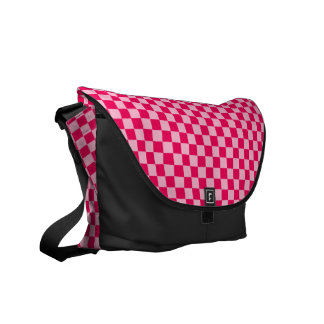 Pink Combination Diamond-Checkerboard Messenger Bags