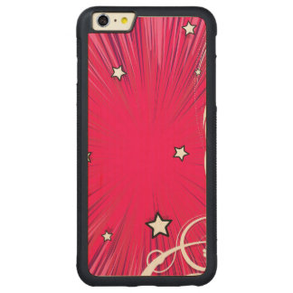 Pink Comic Book Style Burst with Stars Carved® Maple iPhone 6 Plus Bumper Case