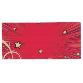 Pink Comic Book Style Burst with Stars Wood USB 2.0 Flash Drive
