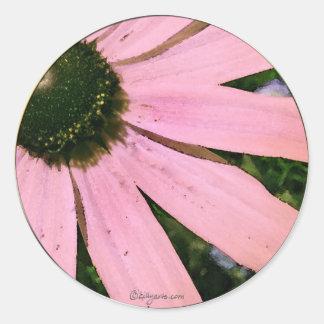 Pink Coneflower Wedding Envelope Seal Stickers