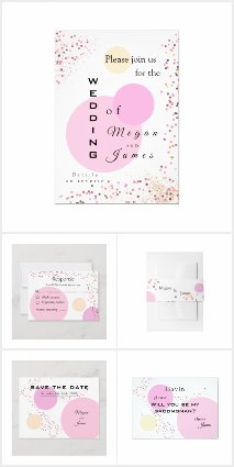 Pink confetti circles wedding