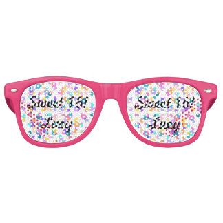 Pink confetti sweet 16 dots retro party shades