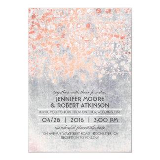 Pink Confetti Vintage Wedding Card