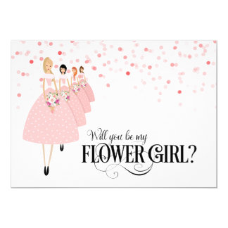Pink Confetti Will You Be My Flower Girl 13 Cm X 18 Cm Invitation Card