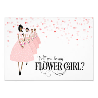 Pink Confetti Will You Be My Flower Girl Ethnic 13 Cm X 18 Cm Invitation Card