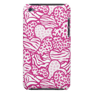 Pink contour girly animal print hearts iPod touch case