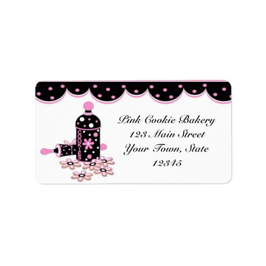 Pink Cookies, Bakery Label Address Label