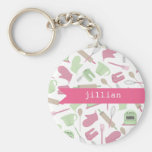 Pink Cooking Themed Personalised Keychain