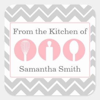 Pink Cooking Utensils Trio Kitchen Labels Square Sticker