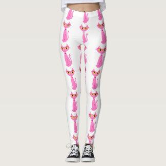 Pink Cool Cartoon Cat Leggings