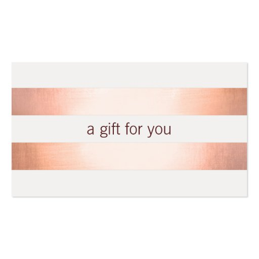 Pink Copper Foil Look Beauty GiftCard Business Card Template