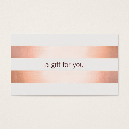 Pink Copper Foil Look Beauty GiftCard Business Card
