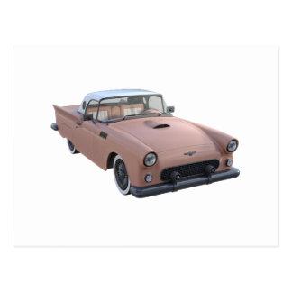 Pink Coral 50's Sport Car Postcard