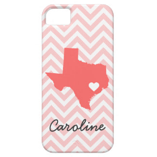 Pink & Coral Cute Texas Love Chevron Monogram Case For The iPhone 5