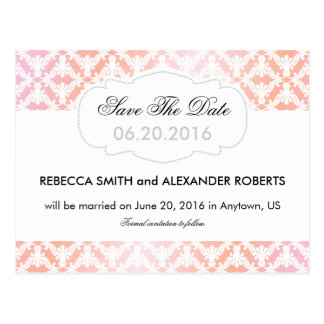 Pink & Coral Damask Save The Date Postcard