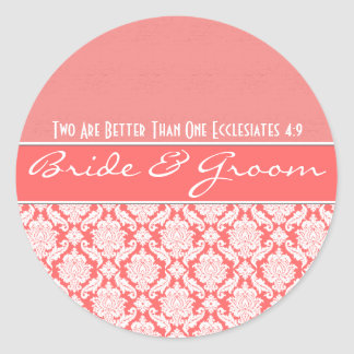 Pink Coral Damask Vintage Damask Wedding Favors Round Sticker
