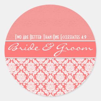 Pink Coral Damask Vintage Damask Wedding Favors Sticker