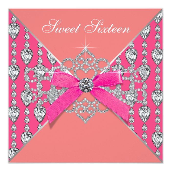 Pink Coral Diamonds Coral Sweet 16 Birthday Party 13 Cm X 13 Cm Square Invitation Card