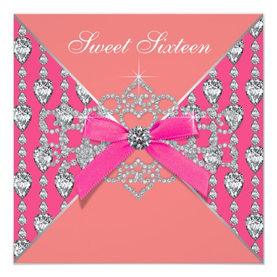 Pink Coral Diamonds Coral Sweet 16 Birthday Party Card