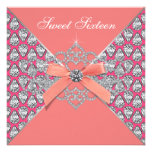 Pink Coral Diamonds Coral Sweet 16 Birthday Party Personalized Invite