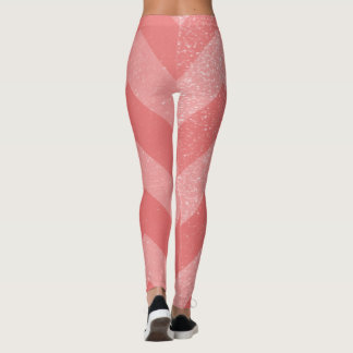 Pink Coral Glitter Chevron Pattern | Zig Zag Leggings