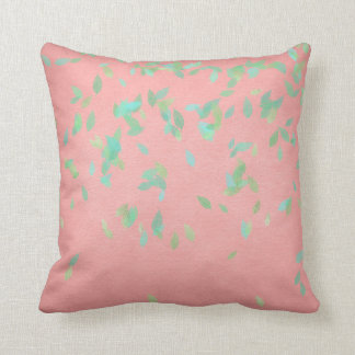 Pink Coral Gold Leafs Mint Green Pastel Cushion
