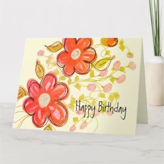 Pink Coral Orange Flowered Folded Birthday Card