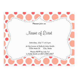 Pink & Coral Polka Dot Pattern Post Cards