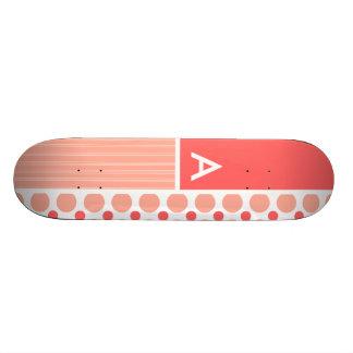 Pink Coral Polka Dots Dots Skate Board Deck